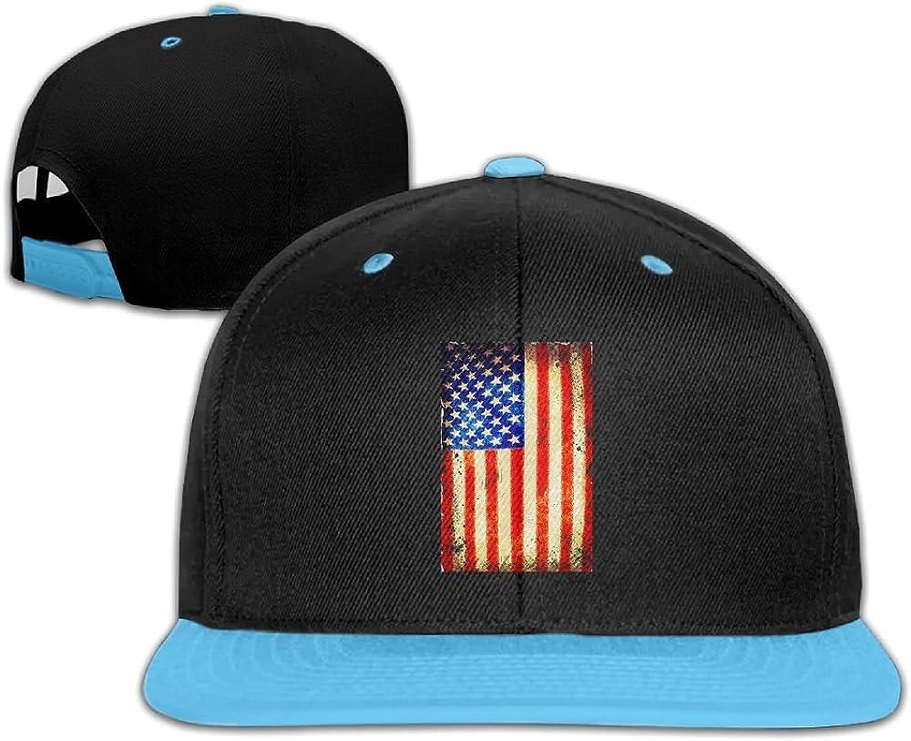 GUOFULIN Old Vintage American Flag Adjustable Snapback Kids Hip Hop Hat Baseball Cap