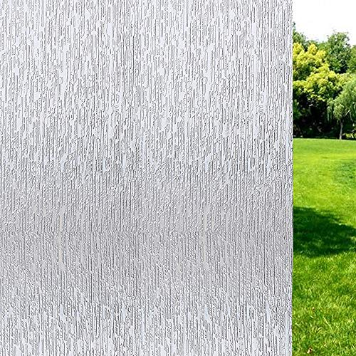 Window Film Non Adhesive Frosted Film Privacy Window Sticker Self Static Cling Vinly Glass Film Anti UV Decorative for Home Office Rain 35.4 Inch x 6.5 Feet