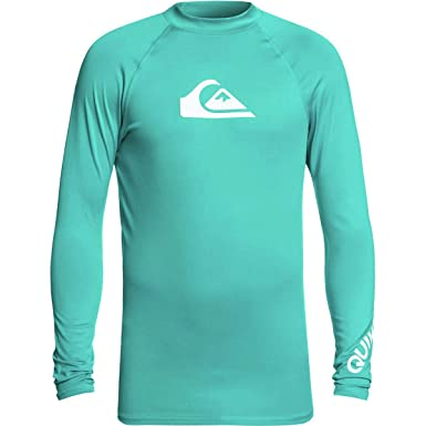 24d61d9f709f Amazon.com: Quiksilver All Time Long Sleeve Rashguard Swim Shirt UPF 50+:  Clothing