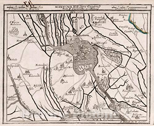 Collection Mantova (Map | Mantova Mitt dero Gegend : Nach P. Coronelli Vorstellung. G. Bodenehr fec. Et Excudit. Atlas Curieux oder Neuer und Compendieuser 1716 | Vintage Wall Art | 24in x 20in)