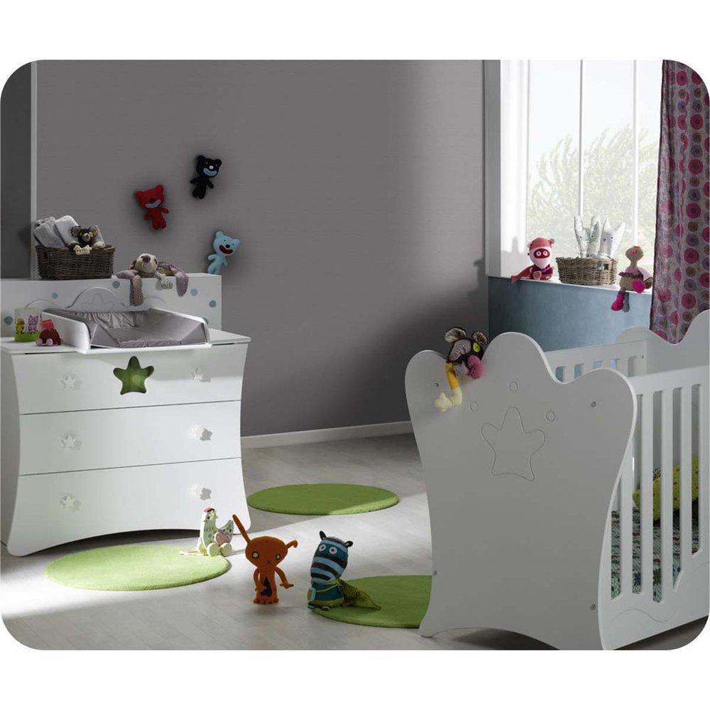 Mini Babyzimmer Petit Roi weiß mit Wickelfläche