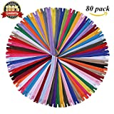 #3: 16 Inch Zippers - Assorted Color Nylon Coil Zippers Bulk - Supplies for Tailor Sewing Crafts - Pack of 80