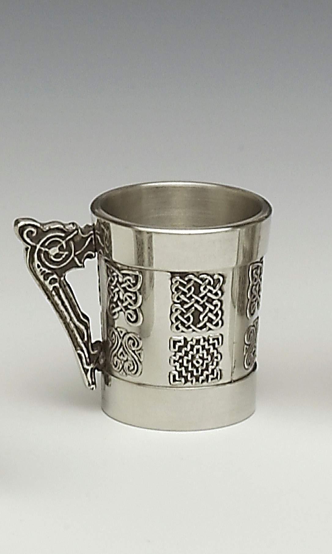 Mullingar Pewter Whiskey Measure With Celtic Handle And Celtic Design by Mullingar Pewter
