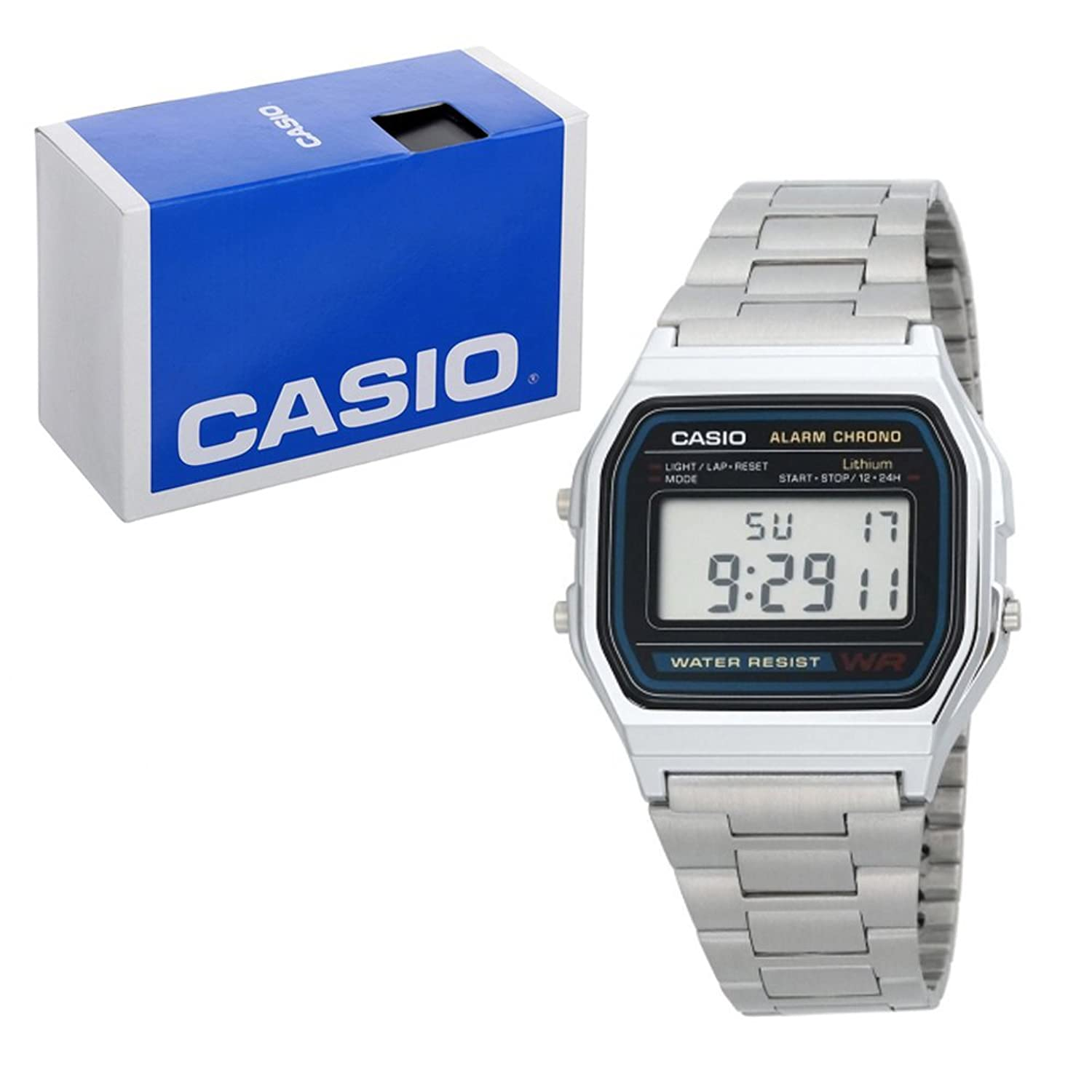 Casio A158WA - Reloj unisexo, correa de acero inoxidable color...