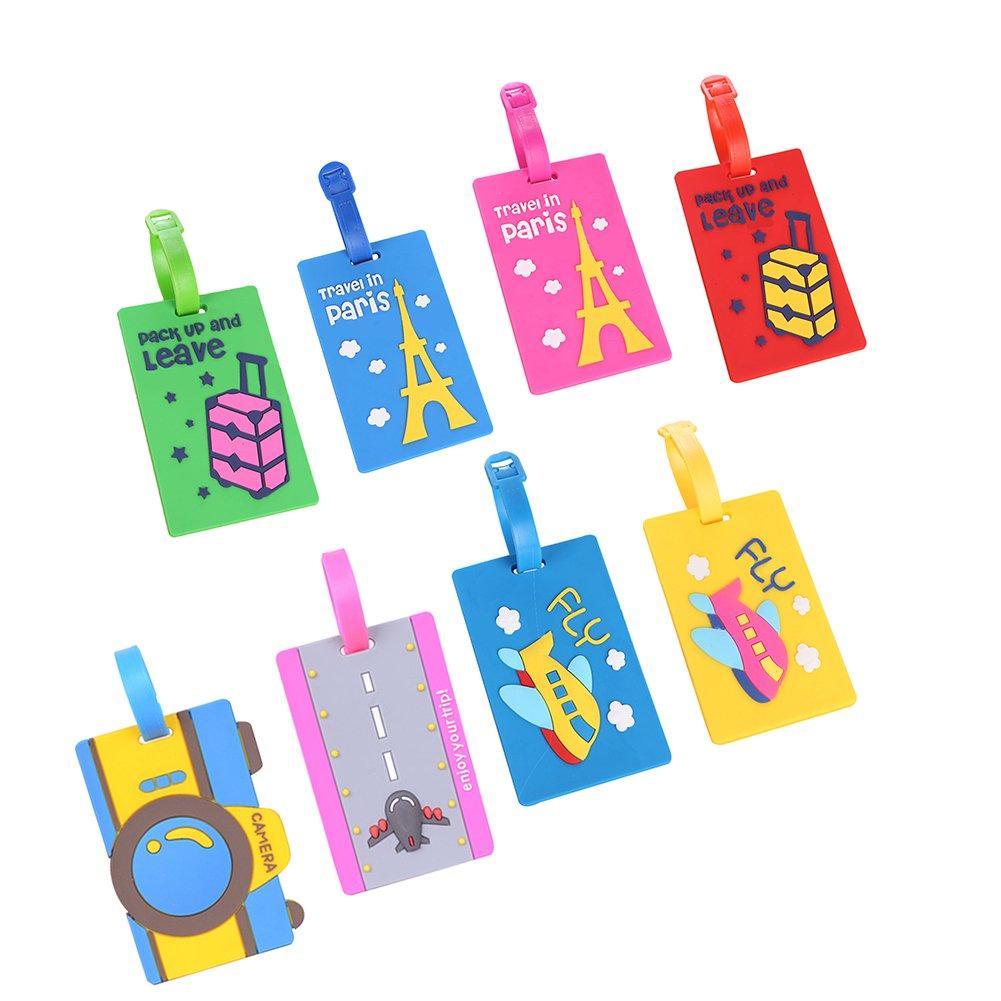 Da.Wa 5 Unids PVC Creativo Etiquetas de Equipaje de Pl/ástico Suave Crucero de Dibujos Animados Titulares de Etiquetas de Equipaje Viajes Etiquetas