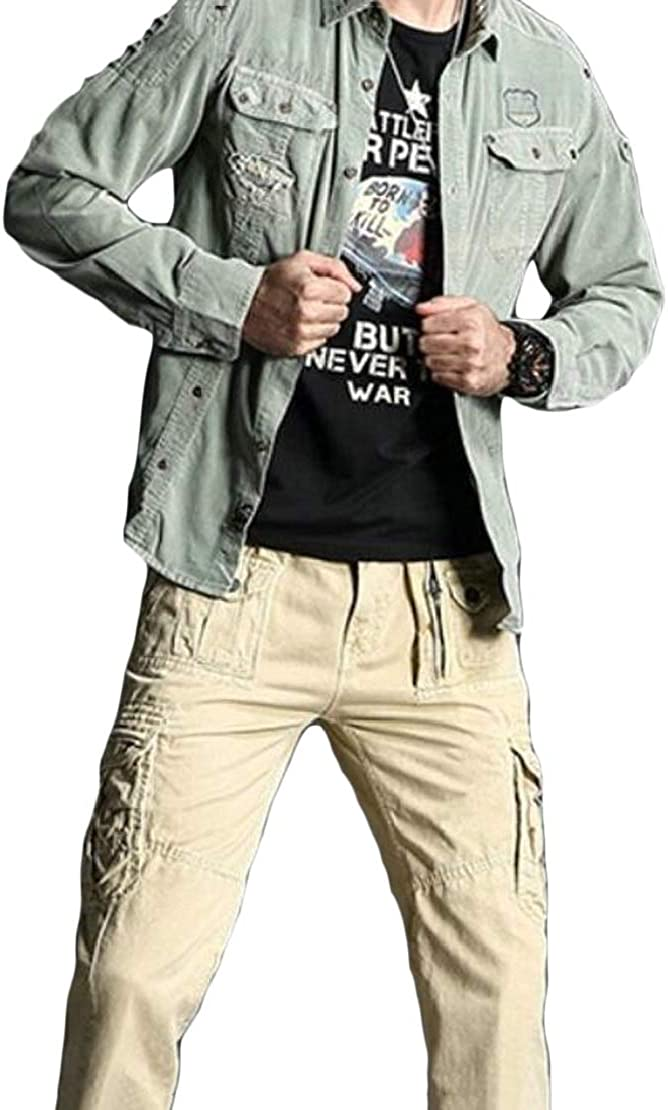 GRMO Men Outdoor Button Down Pockets Military Basic Corduroy Shirts