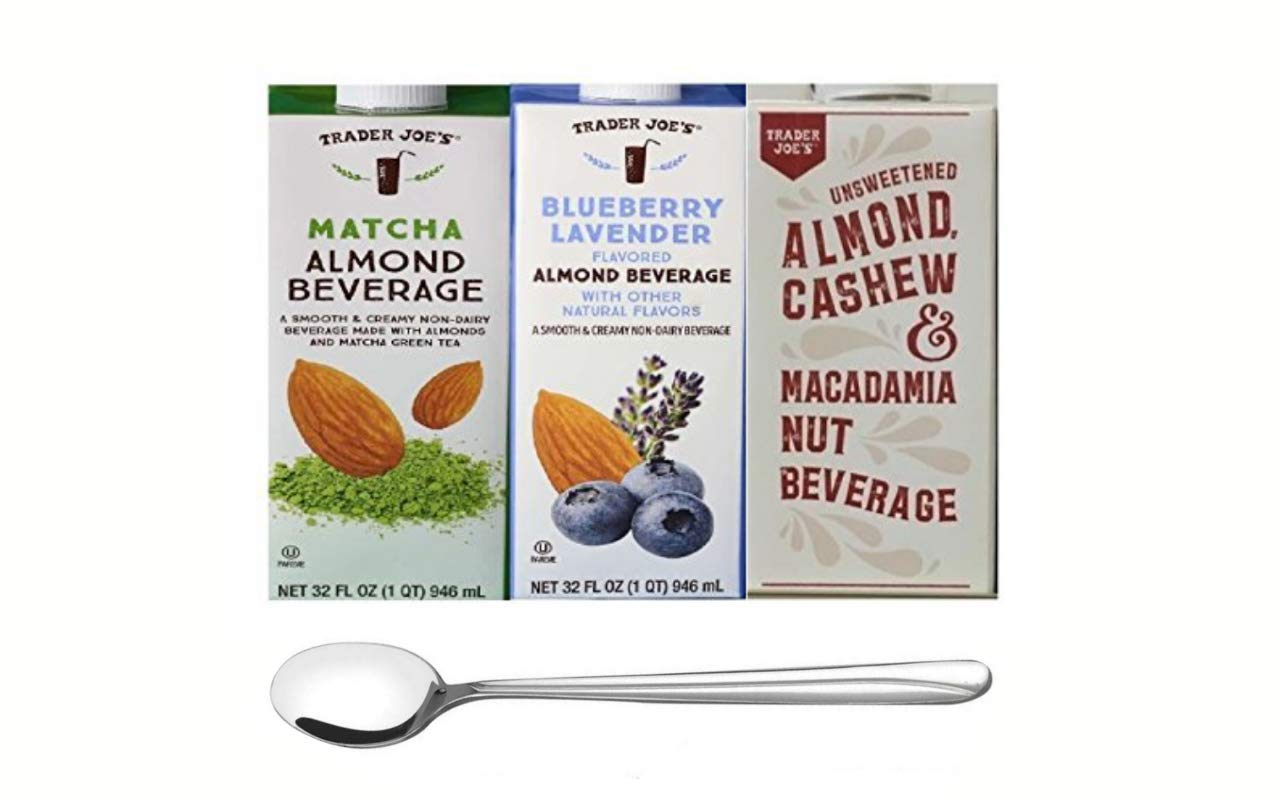 Trader Joe's Almond Milk Beverage Trio: Matcha Almond Beverage, Blueberry Lavender Flavored Almond Beverage, Unsweetened Almond Cashew and Macadamia Nut Beverage with wave design long stirring spoon