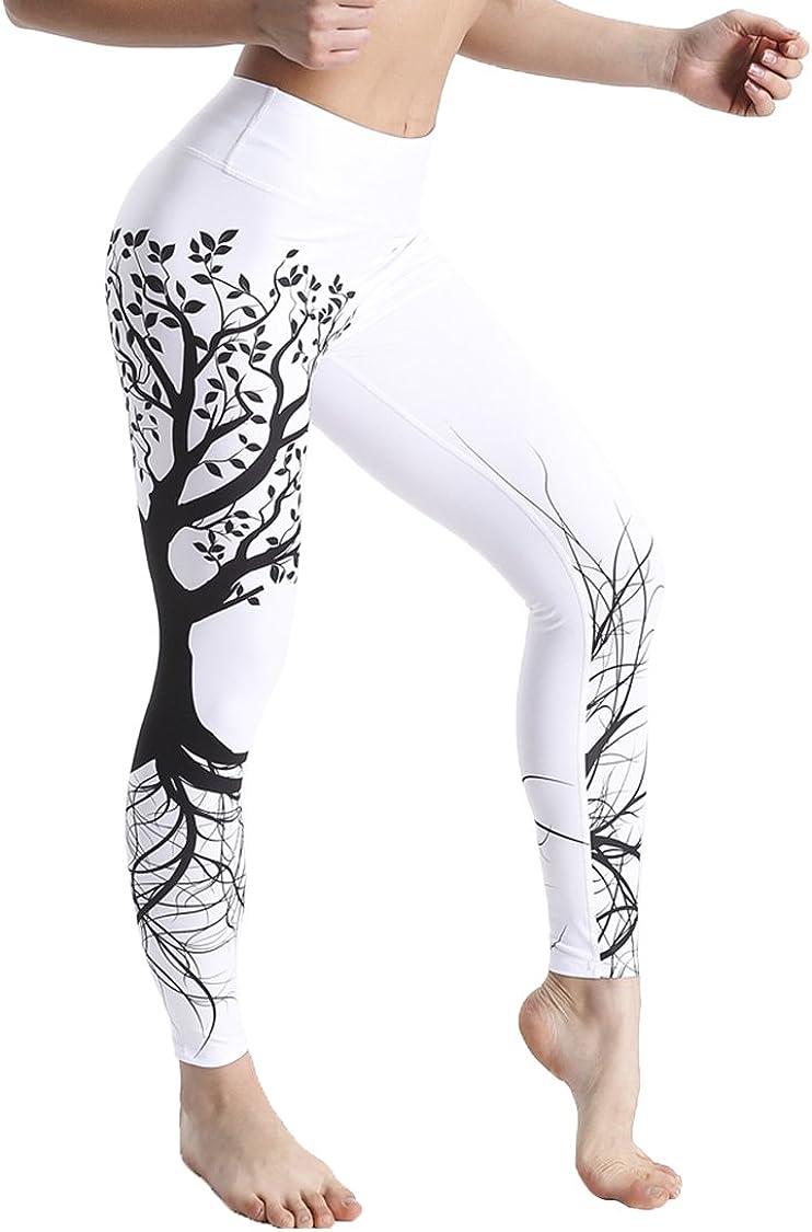COOleggings Ladies Wishing Tree Patterned Flexible Exercise Leggings White L