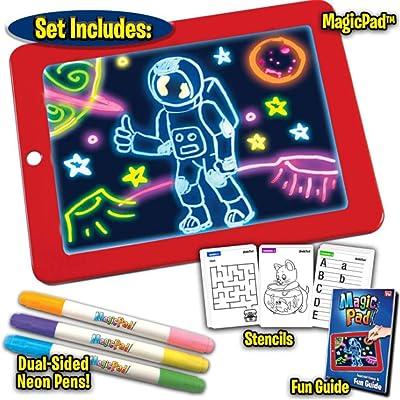 GLEYDY 3D Magic Drawing Pad,Tablero de Escritura Kids Educational Magic Pad Portátil Art That Glows Puzzle Dibujo Escribiendo Portapapeles Juguetes con Pincel de Pizarra para Draw Sketch Doodle,Rojo: Deportes y aire libre