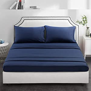 TEKAMON Premium 4 Piece Bed Sheet Set 1800TC Bedding 100% Microfiber Polyester - Super Soft, Warm, Breathable, Cooling, Wrinkle Free - 10-16