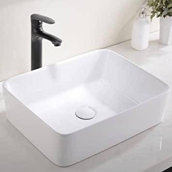 Ufaucet Modern Porcelain Above Counter White Ceramic Bathroom Vessel Sink      Amazon.com