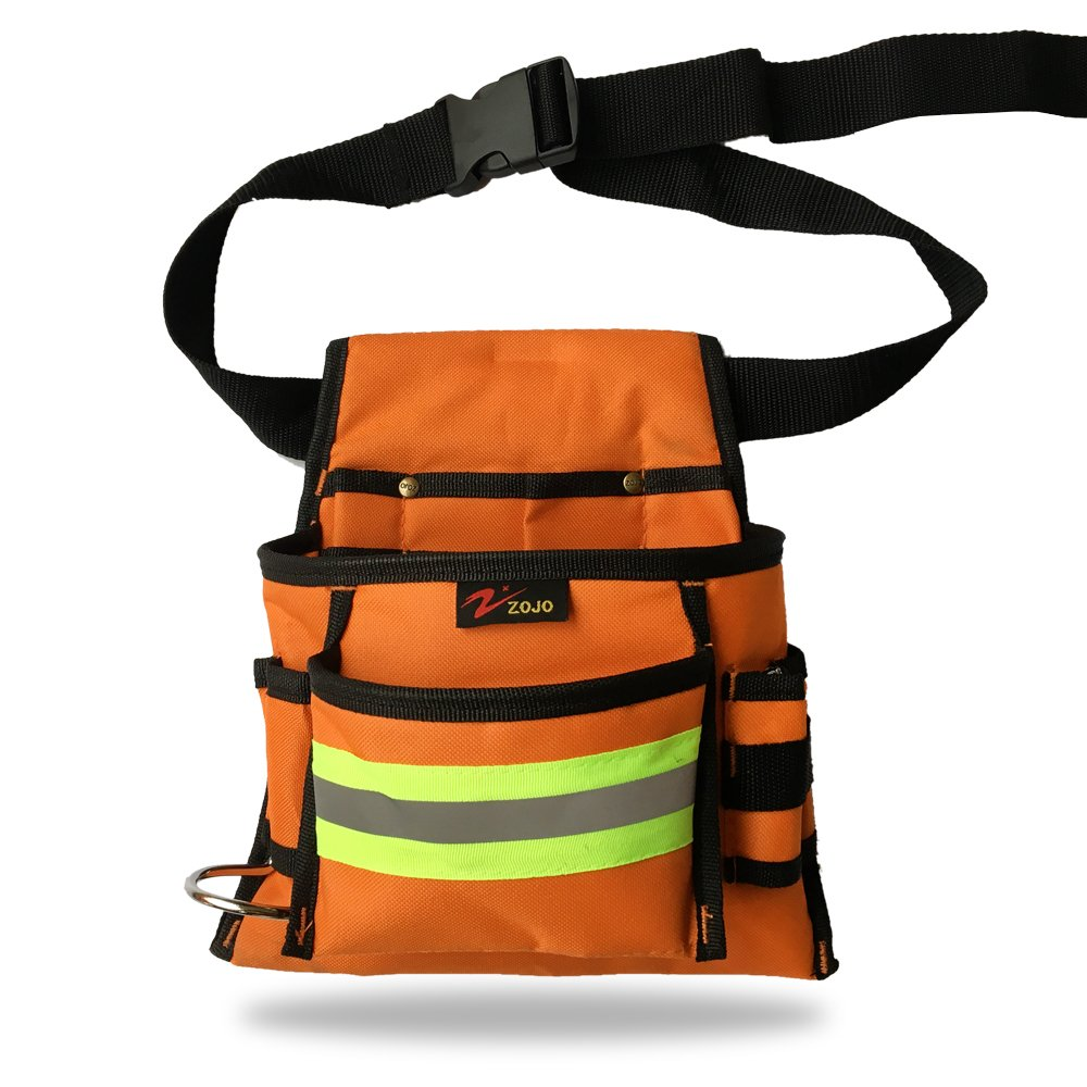 Reflective Electrical Maintenance Tool Pouch Bag Technician's Tool Holder Work Organizer for Roofers Maintenance Workers Construction Workers Plumbers Fits the Waist to 44 inch(Single Updated, Orange)