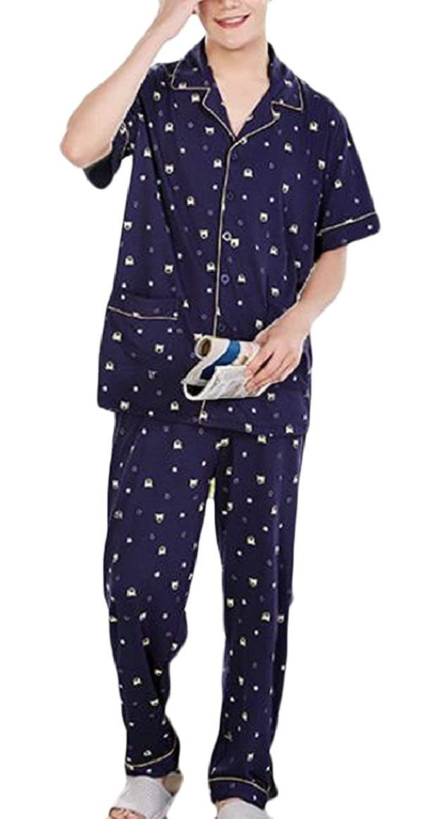 Smeiling Mens Pajamas Set Sleepwear Set with Top and Pants