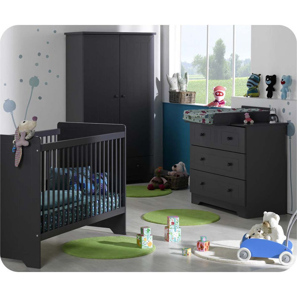 Babyzimmer komplett Oslo Anthrazit-grau mit Wickelfläche