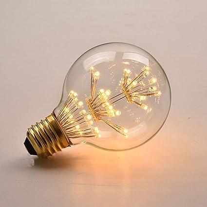 SSLW Edison luz Bombilla LED decoración E27 Grandes Tornillos Estrella Fuego Columna Creativa Fuente de luz