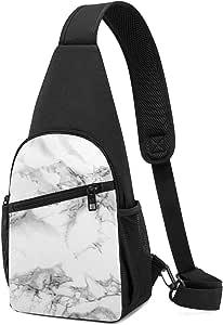 PGTry - Mochila bandolera de color gris mármol, ligera, para el pecho, bolsa cruzada, para viajes, senderismo, para hombres y mujeres