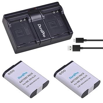 DuraPro - 2 baterías EN-EL23 EN EL23 de 1850 mAh + Cargador ...