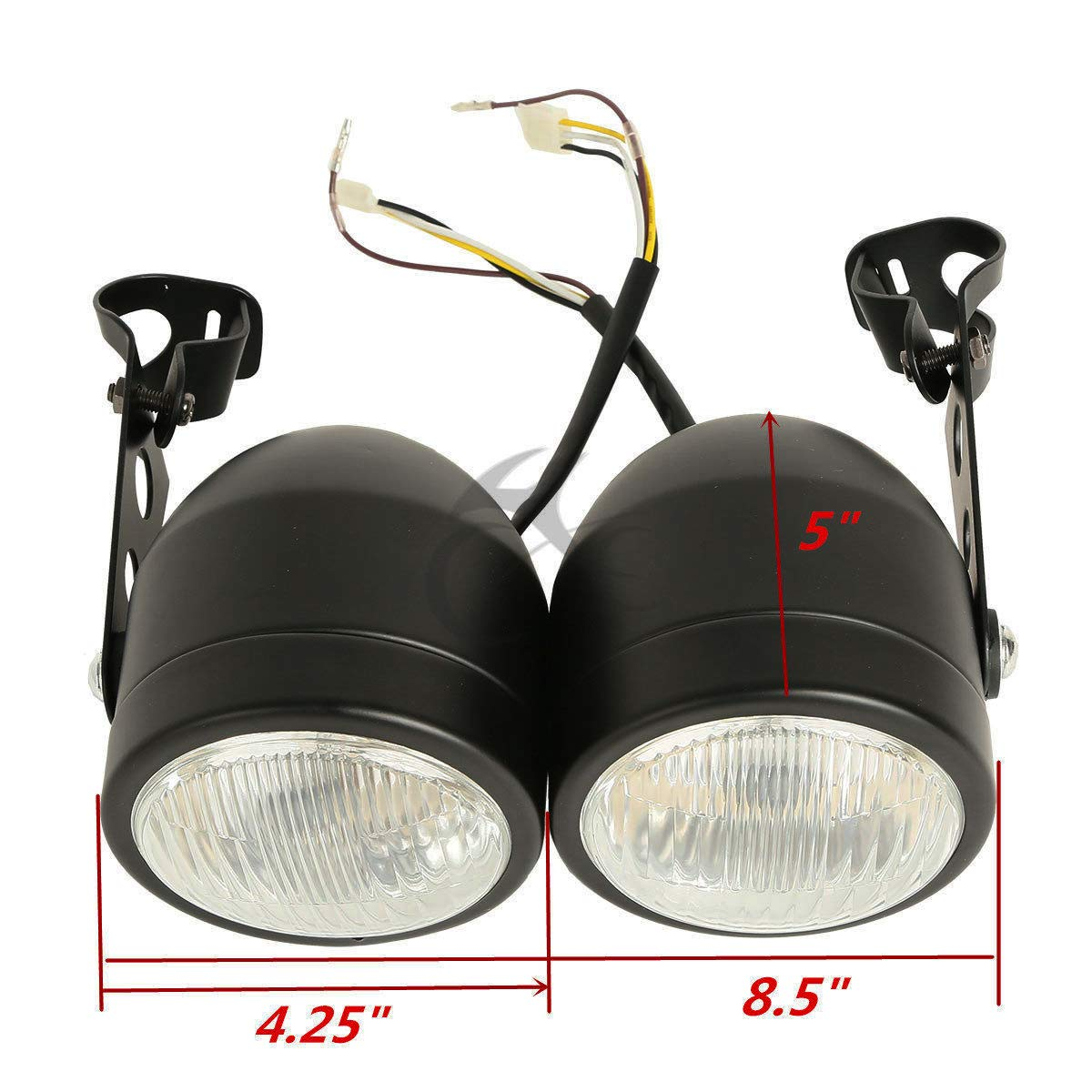 XFMT Double Dual Lamp Front Headlight W//Bracket Compatible with Street Fighter Naked Motorcycles
