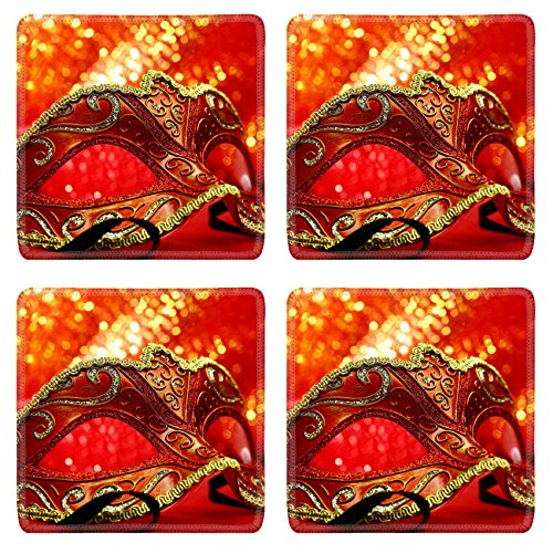 Luxlady Natural Rubber Square Coasters IMAGE ID: 34457514 Vintage carnival mask in front of glowing (Italian Carnival Costume Ideas)