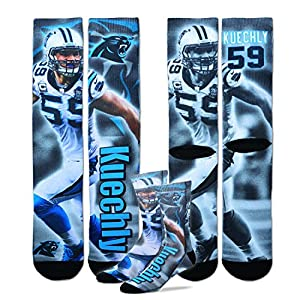 Luke Kuechly Carolina Panthers For Bare Feet NFL Drive Player Profile Socks Medium 5-10