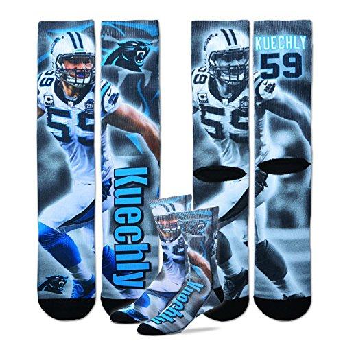 Luke Kuechly Carolina Panthers For Bare Feet NFL Drive Player Profile Socks Medium (For Bare Feet Carolina Panthers Socks)