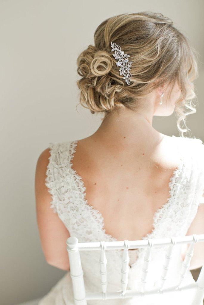 EVER FAITH Wedding Leaf Wave Hair Side Comb Clear Zircon Crystal Silver-Tone by EVER FAITH (Image #1)