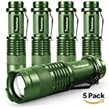 Mini Flashlights LED Flashlight 7W 300LM SK-68 3 Light Modes Adjustable Focus Zoomable Q5 LED Tactical Flashlight for Camping Hiking Emergency (Green)