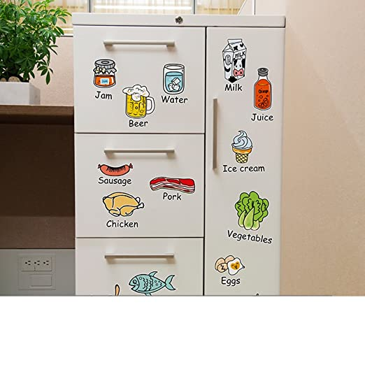 Etiqueta de la pared de dibujos animados alimentos,Cocina nevera ...