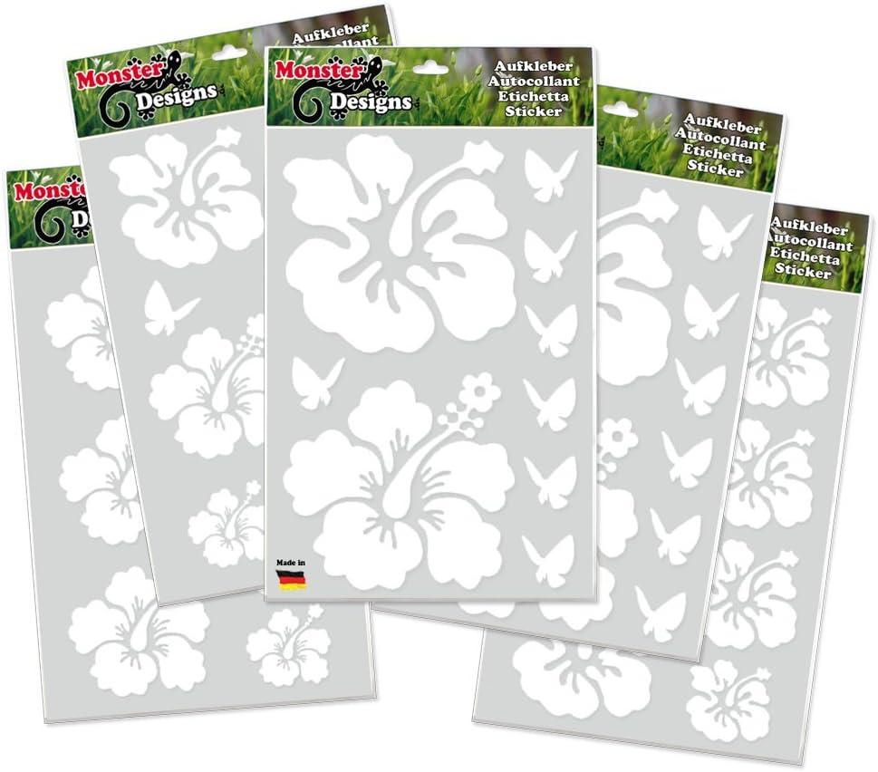 Hibiskus Schmetterling 40 Stück Set Autoaufkleber Blumen Aufkleber Weiss Auto