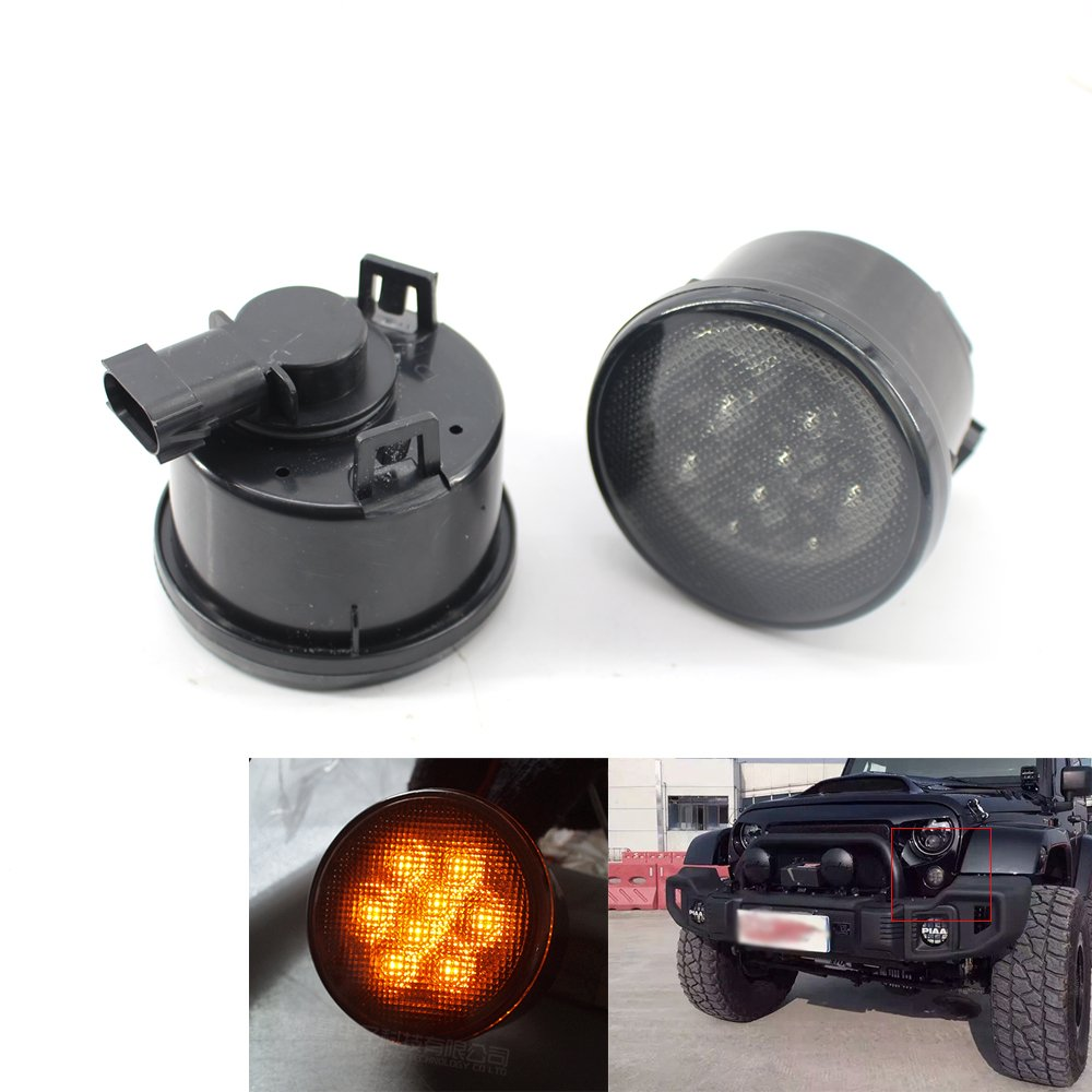 Smoke Lens Front Grille Amber Turn Signal Marker LED Light Compatible Jeep Wrangler JK 2007-2017 XIN HUI sku1147