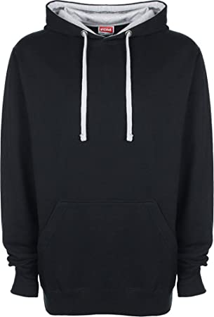 FDM Unisex Kapuzenpullover / Kapuzensweater mit kontrastfarbener Kapuze  XS,- Black/Fire Red