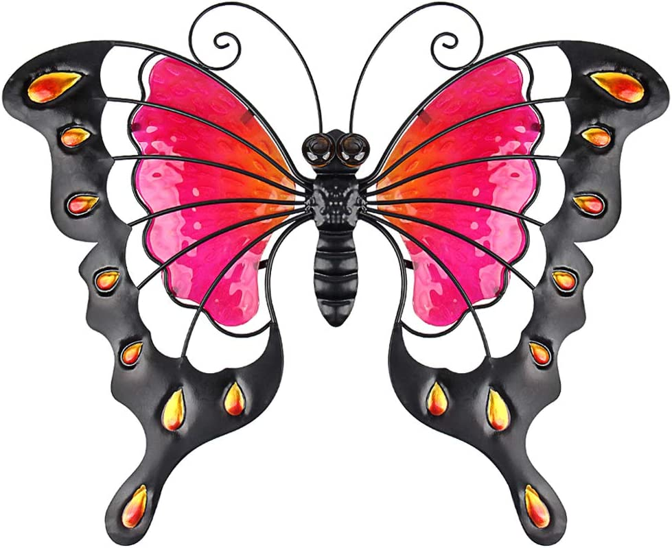 John's Studio Metal Butterfly Wall Decor Bathroom Glass Art Iron Sculpture Outdoor Red Hanging Decoration for Home Bedroom Garden Patio Porch or Fence