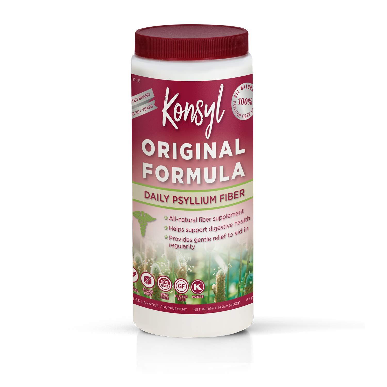Konsyl - Original Formula - Psyllium Husk Daily Fiber Supplement Powder | All-Natural, Soluble, Gluten-Free and Sugar-Free | 1 Pack - 402g by Konsyl