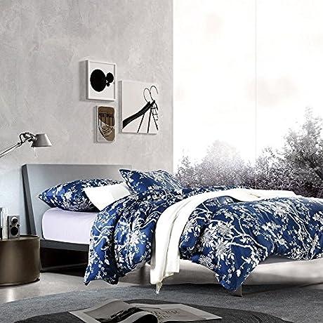 Leaptech Luxury Reactive Printed Flower 60S Long Staple Satin Drill Cotton Bedding Set Dark Blue Queen And King Size Navy Blue King Navy Blue King