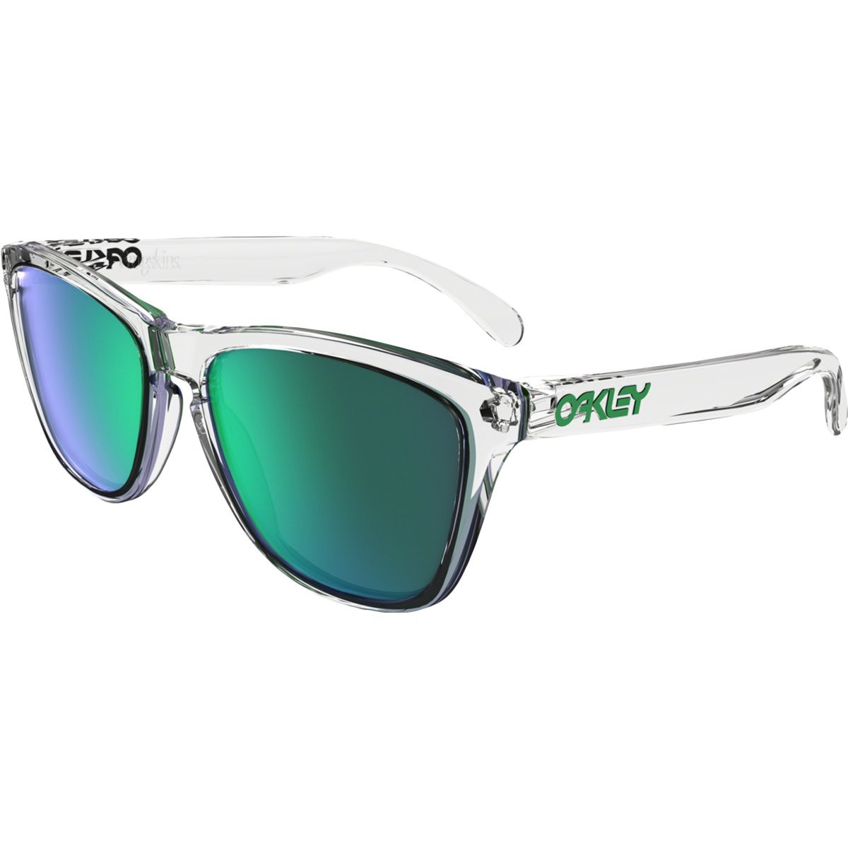 Oakley Frogskins Square Sunglasses, Polished Clear w/Jade Iridium, 55 mm