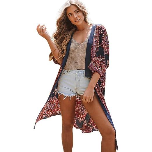 94ba7b6a70 Amazon.com: Molyveva Women Boho Floral Beach Thin Cover-up Kimono Cardigan  Half Sleeve Coat: Clothing