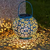 Solar Lantern Hanging Garden Outdoor Lights Metal Waterproof LED Table Lamp Decorative (Blue) Review