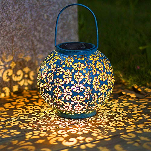 Solar Big Lantern Hanging Garden Outdoor Lights Metal Waterproof LED Table Lamp Decorative