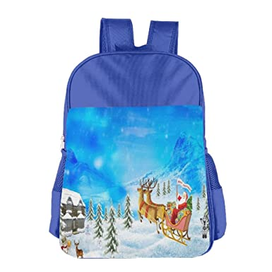 Christmas Santa Claus Reindeer Kid s School Shoulder Backpack Bag  Waterproof Children Bookbag 0b13a7452eefd