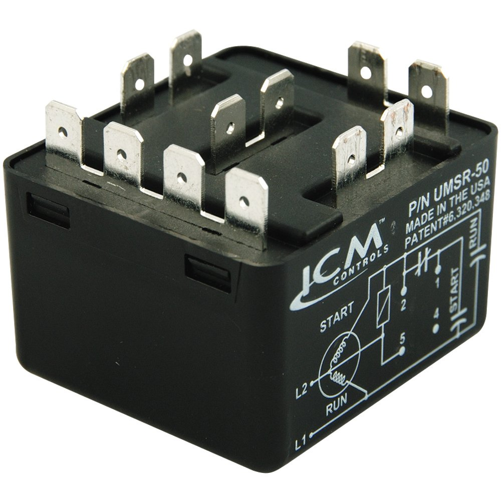 ICM Controls UMSR-50 Universal Motor Starting Relay, 50 Amp, Patented differential voltage sensing, Voltage rating 110V - 270V AC, Single Phase (Maximum Voltage Contact Rating 502V AC)