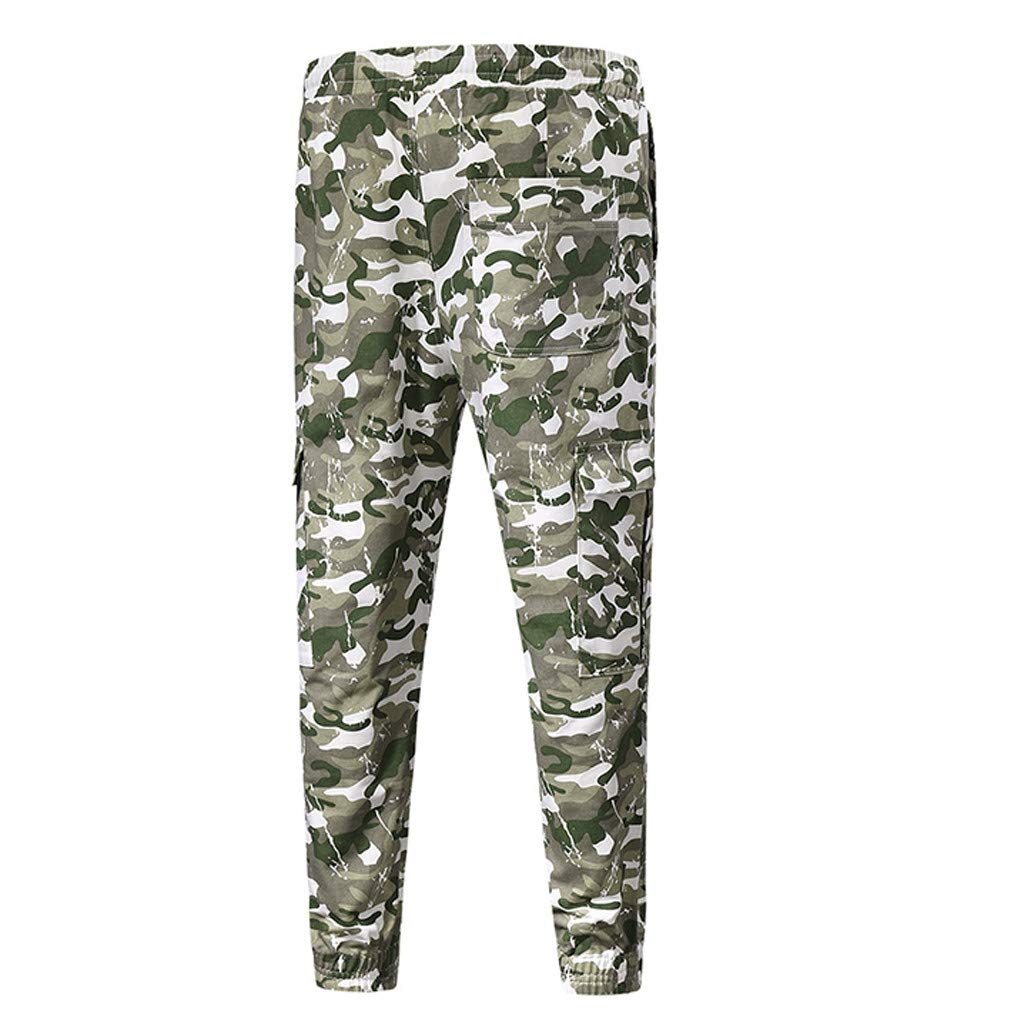 NUWFOR Mens Summer New Simple Leisure Fashion Pocket Decorative Trouser Fashion Pants?Army Green,US XS Waist:28.35?