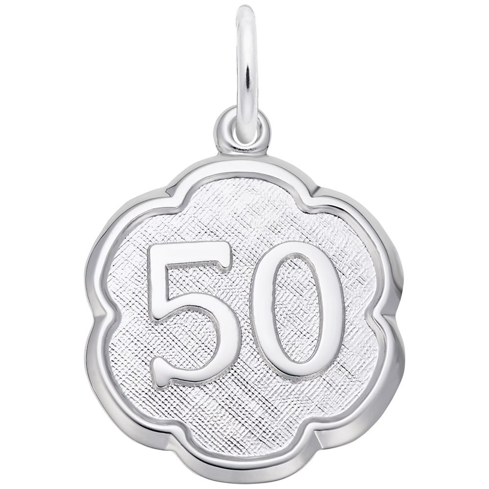 Rembrandt Charms Number 50 Scalloped Disc Engravable