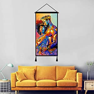 Vintage Hanging Poster Canvas Wall Art, African King and Queen Oil Painting Prints Tapestry Linen Scroll with Tassels, Decoration for Home Dorm Office 18X36 Inch