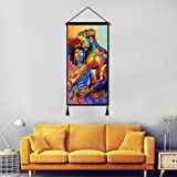 Vintage Hanging Poster Canvas Wall Art, African King and Queen Oil Painting Prints Tapestry Linen Scroll with Tassels, Decora