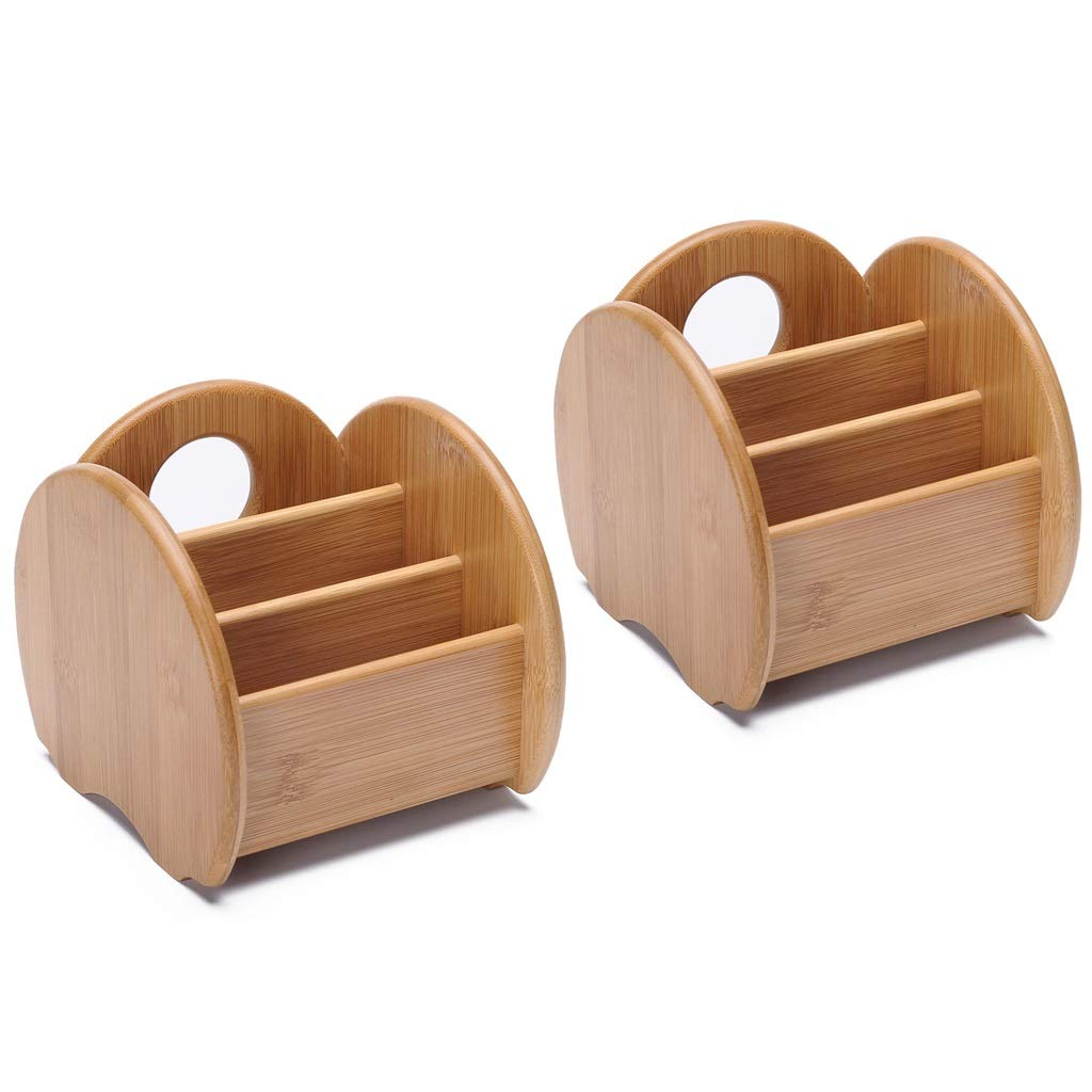 GWM Tissue Box Wooden Desk Organizer Remote Control Holder Organizer, 3 Compartments Table Storage Container, for TV Remote Phone Eyeglasses Shaver CD and More! (Size : 2 pcs)