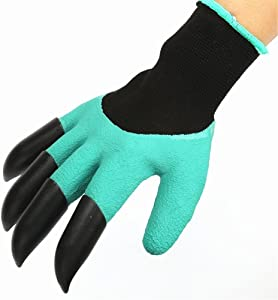 MR.CHAOS 3Pair Garden Genie Gloves Fingertips Dig Plant Rose Pruning Right Hand Claw