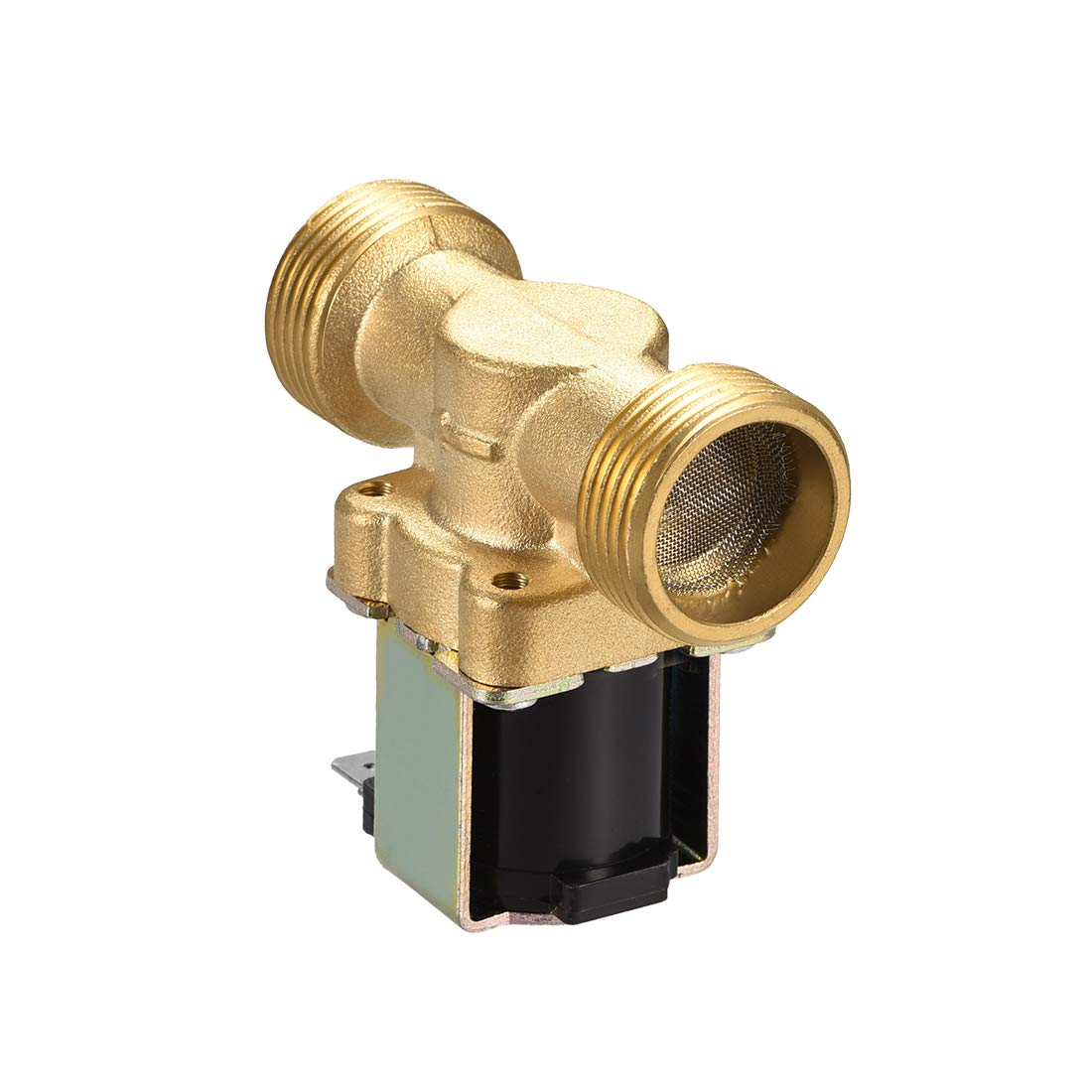 sourcing map AC220V//240V G3//4 Brass Water Electric Solenoid Valve Normally Closed N//C Pressure Water Inlet Flow Switch Electric Magnetic Valve