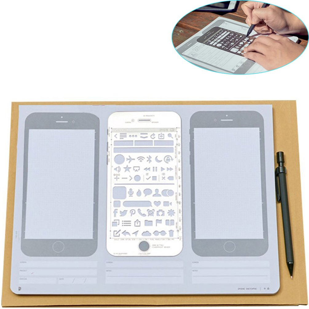 ZZ Lighting Novelty Creative iPhone 6 Draft Drawing Pad for App Design and UI Design (Sketch Pad+Stencil Kit+Pencil)