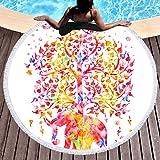 Sleepwish Thick Round Beach Towel Terry, Elephant Beach Blanket, Beach Roundie Circle Yoga Mat with Fringe, Bohemian Elephant Beach Tapestry (White Rainbow, 60'')