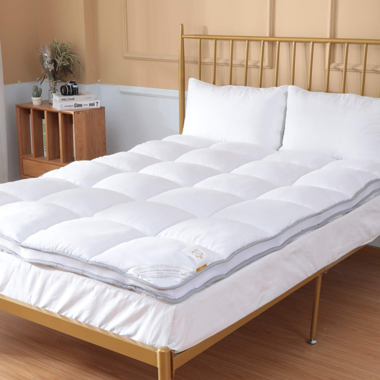 Duck & Goose Co Air-Flow Luxury Hotel Quality Mattress Topper, Ultra Plush Down Alternative Pillow Top Hypoallergenic Bed Topper 2'' H, Twin Size